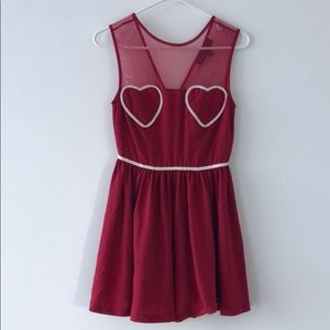 Topshop Red Heart Mini Dress, size 4